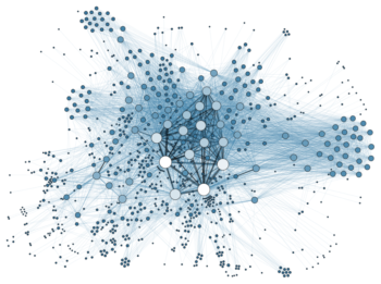 Graphic showing social network analysis: many many scattered dots are connected by thin lines, showing the complexity of social networks.