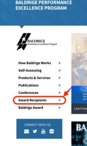 """Screen shot of the Baldridge Program Web site, showing the navigation menu where you can find the page called """"Award Recipients""""."""