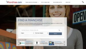 Screen shot of franchise.com Web site home page.