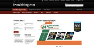 Screen shot of franchising.com Web site home page.