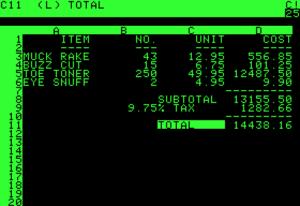 Visicalc running on an Apple II