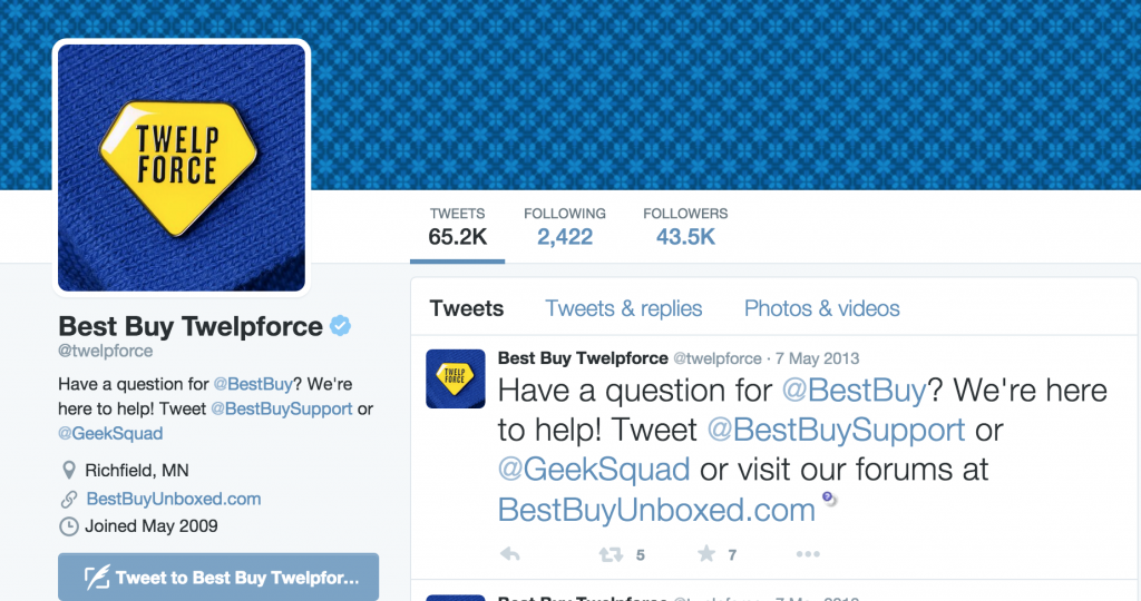 Screenshot of Best Buy Twelpforce's twitter page