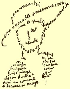French words arranged on a page to form a sketch of a man wearing a hat