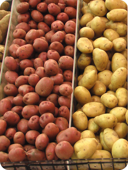 potatoes for sale at a grocery store