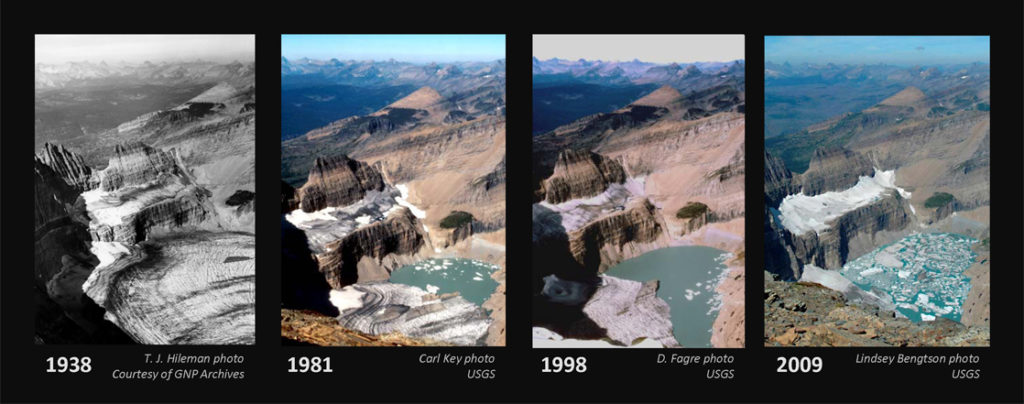 A series of photos shows the Grinnel Glacier in 1938, 1981, 1998 and 2009. In 1938, the lake beneath the glacier was completely frozen. In 1981, about one-third of the lake was thawed. In 1998, two-thirds of the lake was thawed. In 2009, it was covered with chunks of ice, but otherwise it was completely thawed. At the same time, the glacier itself has steadily receded.