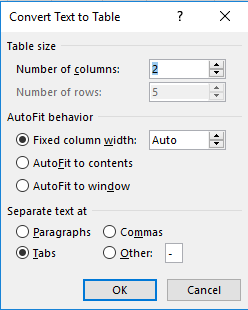 A convert text to table dialog box is open.