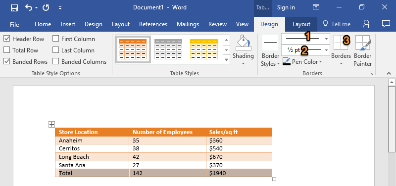 A Microsoft Word document is open with a table on it. The table has five different rows and two individual columns. The option to change the table to an orange grid table has been selected. There are 3 orange numbers. The first one represents how to change the type of border. The second changes the width or thickness of the border. The third controls which side or sides of the cell the border appears on.