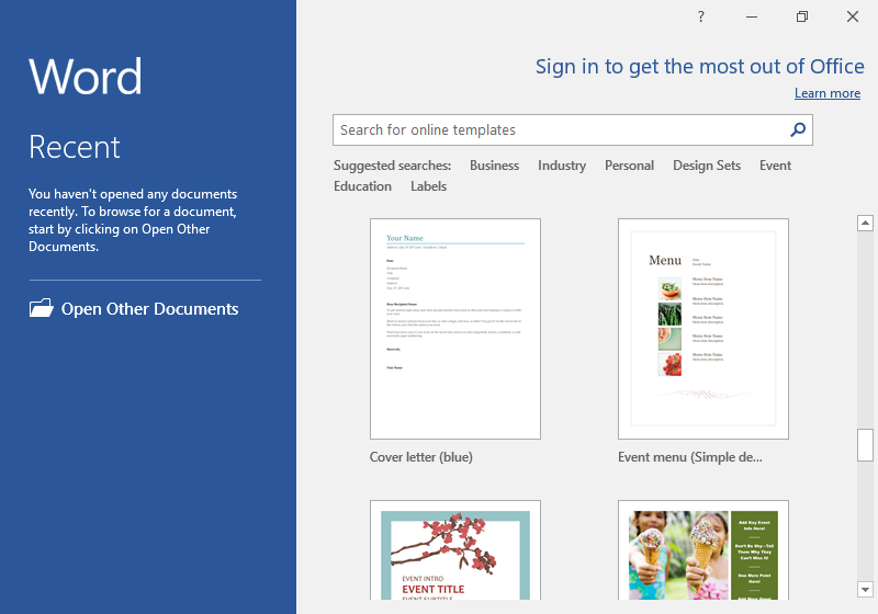 The backstage view of a Microsoft Word document is displayed.