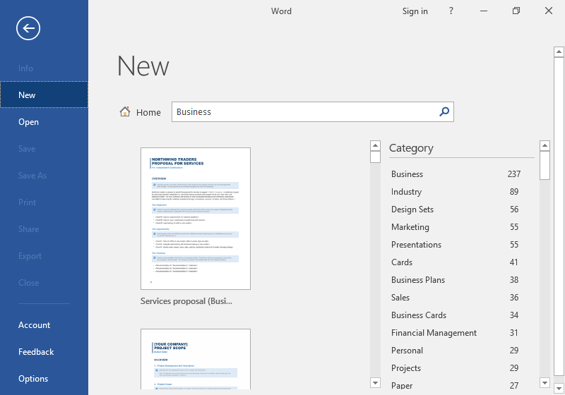 The backstage view of a Microsoft Word document is displayed. The option to create a new template is listed with options such as: business, marketing, project to choose from amongst others.
