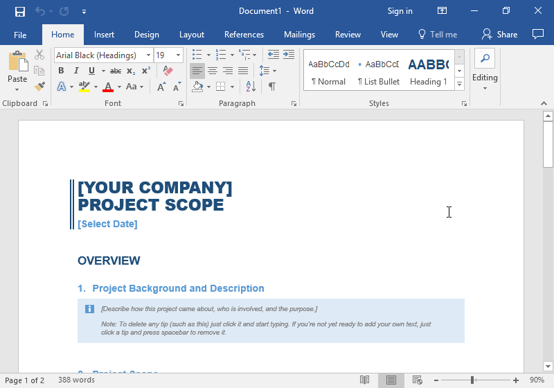A Microsoft Word document has been opened with a business template being displayed.