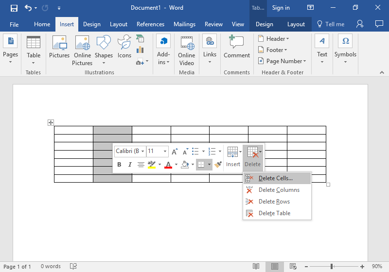 A Microsoft Word document is open with a table on it. One column has been highlighted in gray and a new dropdown menu is open. The option to delete parts of the table is now available.