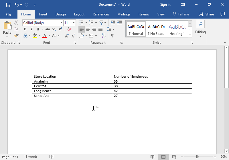 A Microsoft Word document is open with a table on it. The table has five different rows and two individual columns.