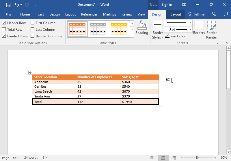A Microsoft Word document is open with a table on it. The table has five different rows and two individual columns. The option to change the table to an orange grid table has been selected.