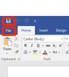 Zoom in on the file and save options on the top left of a blank microsoft word document. Both of the two options are surrounded by red boxes to help identify them.