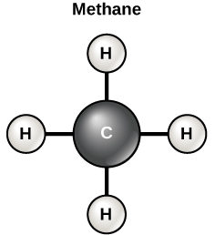 Diagram of a methane molecule, which made up of one carbon atoms and four hydrogen atoms bound to different sides of the carbon atom. The diagram is shaped like a plus sign.