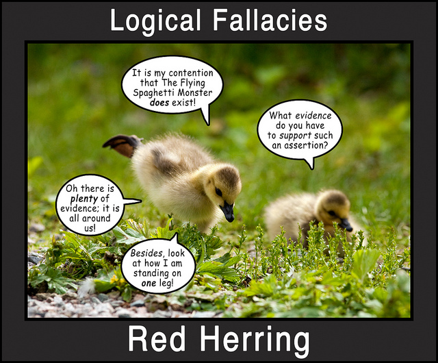 Picture of two ducklings, labeled Red Herring. In dialogue bubbles: It is my contention that The Flying Spaghetti Monster does exist! / What evidence do you have to support such an assertion? / Oh there is plenty of evidence; it is all around us! Besides, look at how I am standing on one leg!