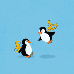 Drawing of two penguins. One has a wind-up key like a toy; the other has a similar wind-up key but in the shape of wings, and is hovering off the ground