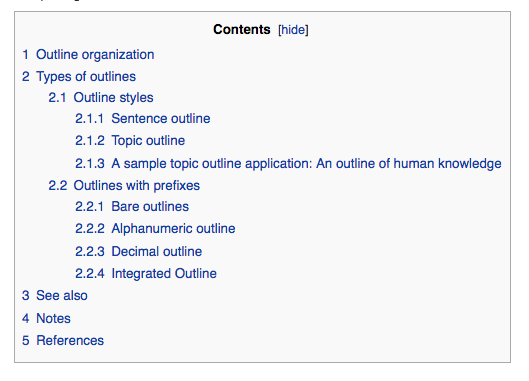 Numerical outline titled Contents (from Wikipedia article). 1 Outline organization. 2 Types of outlines. 2.1 Outline styles 2.1.1 Sentence outline 2.1.2 Topic outline 2.1.3 A sample topic outline application: An outline of human knowledge 2.2 Outlines with prefixes 2.2.1 Bare outlines 2.2.2 Alphanumeric outline 2.2.3 Decimal outline 2.2.4 Integrated Outline. 3 See Also. 4 Notes. 5 References.