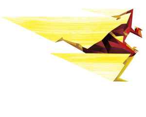 drawing of The Flash character in red hero suit running left, with angular yellow streaks trailing behind him