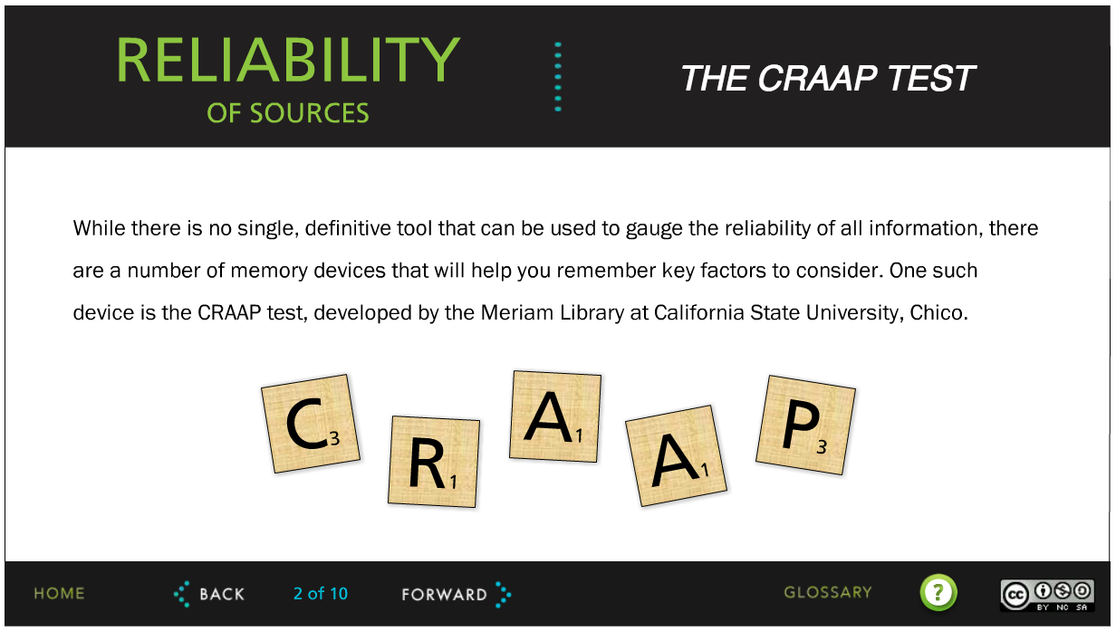 Screenshot of the Tutorial, with an introduction to the CRAAP test.