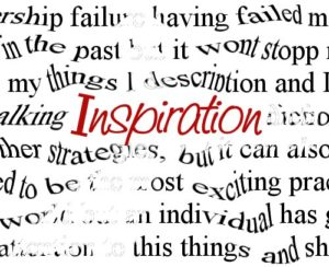 The word Inspiration in red font in the middle of other warped black words such as failure, it won't stop, exciting, individual, and others that are illegible