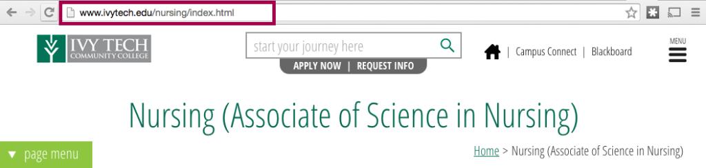 The Ivy Tech website includes a URL: www.ivytech.edu/nursing/index.html