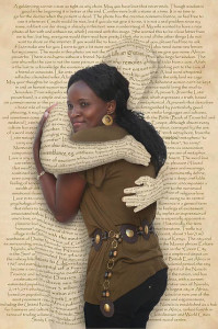 Woman being hugged by human form made of text
