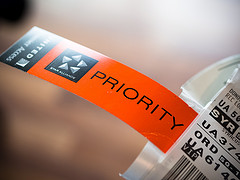 Priority label on package