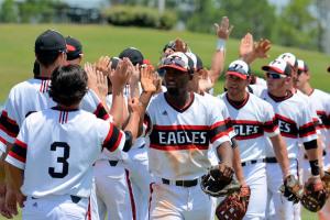 baseball teams slapping hands at end of game