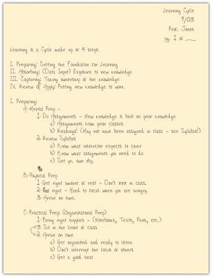 Page of handwritten notes in outline form