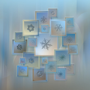 Framed snowflakes in a collage
