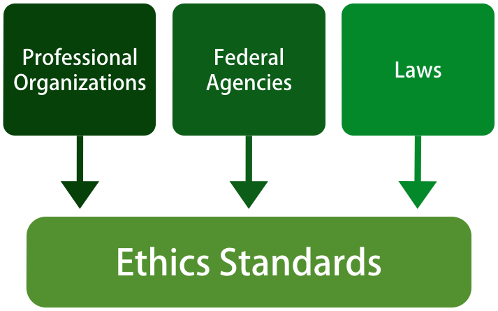 A diagram shows three boxes, labeled Professional Organizations, Federal Agencies, and Laws, pointing downward to a box labeled Ethics Standards