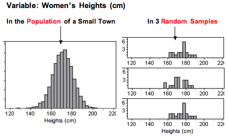 The graphs of three random samples of the heights of 20 women taken from the population of a small town all look fairlysimilar to each other.