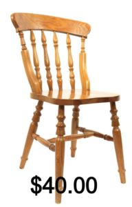 Basic wooden chair with the price of $40.