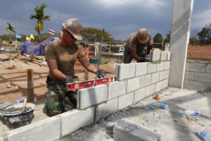 Seabees assigned to Naval Mobile Construction Battalion (NMCB) 11 build a classroom at Pa Ka Mai School during exercise Cobra Gold 2011.