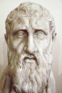 Marble bust of a man with a beard; identified as Zeno of Citium; statue is from the National Archaeological Museum of Naples