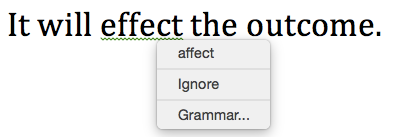 One sentence of text with a grammatical error. A word has been misspelled and a dropdown menu to replace that word is open.