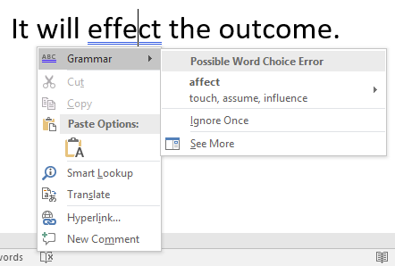 One sentence of text with a grammatical error. A word has been misspelled and a dropdown menu to replace that word is open. This menu gives several options such as cut, copy and paste, as well as grammar, smart lookup and translate.