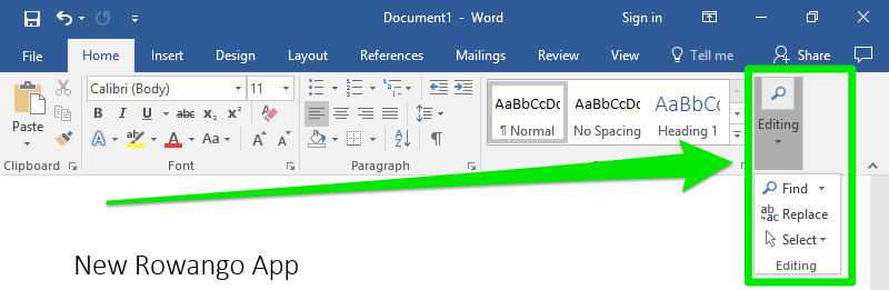 A blank Microsoft Word document is open and is zoomed in on the ribbon menu. A large green arrow is pointing towards the editing feature and a dropdown menu has been opened leading to four new options. 1.) Find 2.) Replace 3.) Select 4.) Editing
