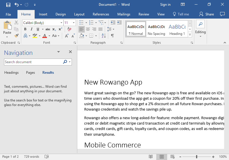 A Microsoft Word document is open with text on it. On the left hand side of the document the navigation feature has been opened.