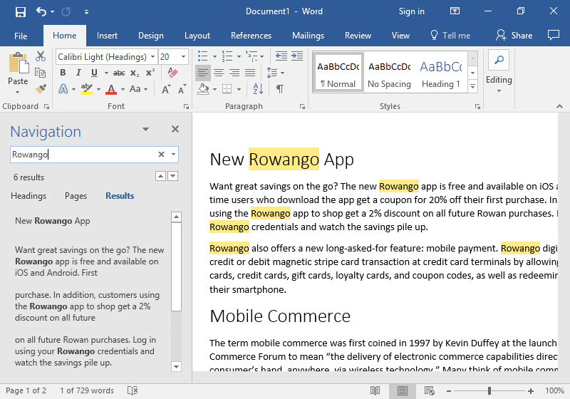 """A Microsoft Word document is open with text on it. On the left hand side of the document the navigation feature has been opened. In the search box the word """"Rowing"""" has been typed. As a result all six instances where that word can be found are highlighted in a mustard yellow."""