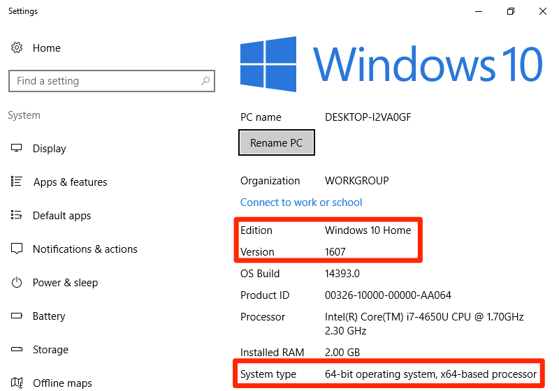 This display shows the about menu of the Windows 10 operating system. In this window it describes the edition, the version, the OS build, the product ID, the processor, the installed RAM, and the system type of the Windows 10 PC. The edition and version labels are surrounded by a red box to highlight them. The system type is also surrounded by a red box.