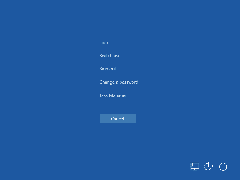 The Windows 10 Ctrl+Alt+Delete screen.