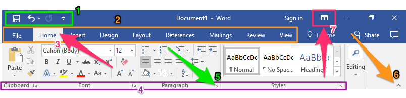 "The ribbon portion of a blank microsoft word document is zoomed in on. On it are 7 different colored shapes and arrows indicating where different things are in the ribbon section. The first is a green rectangle showing the ""Quick access toolbar"". The second is an orange box showing the ""Tab"" section. The third is a pink arrow pointing at the ""currently select tab"". The fourth is a long purple box demonstrating ""where the group"" names are displayed. The fifth is a green arrow pointing at a ""dialog box"". The sixth is a orange arrow pointing at the option to ""hide ribbon"" and the seventh is a pink arrow pointing at the ""ribbon display options""."
