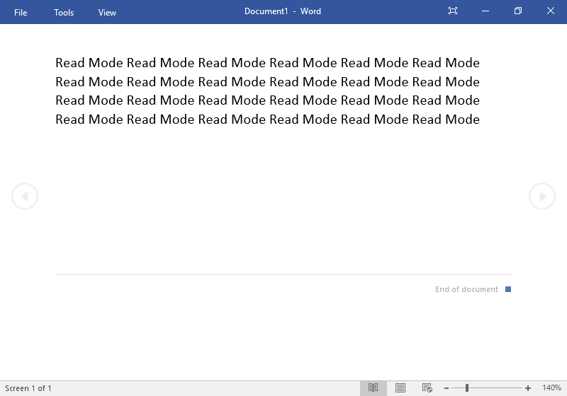 "A Microsoft Word document presented in ""Read Mode""."