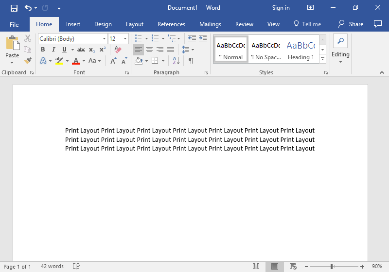 "A microsoft word document presented in ""Print Layout"" mode."