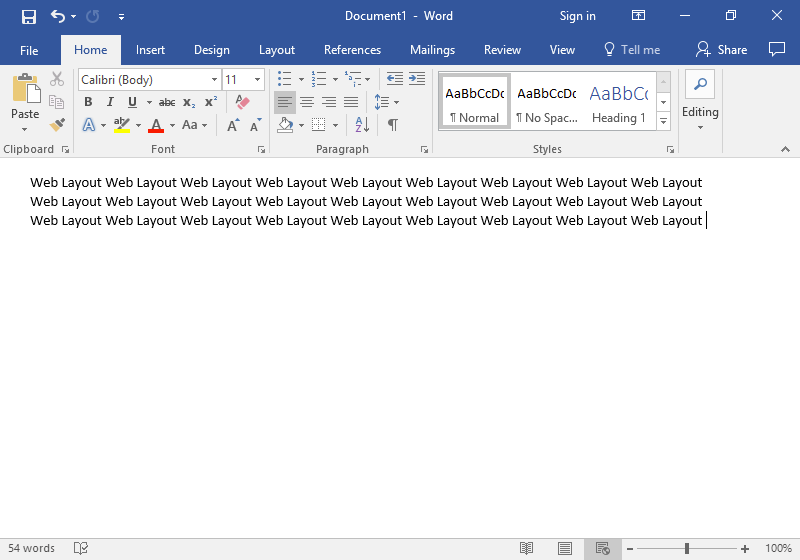 "A Microsoft Word document shown in ""Web Layout""."