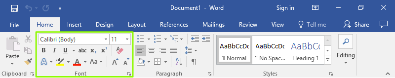 The ribbon menu on a Microsoft Word document is zoomed in on. There is a green box that is highlighting the different formatting options for fonts.