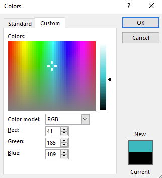 Color dialog box with options to select the exact color you wish to have on the documents font.