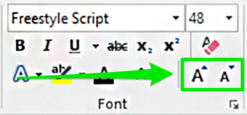 The font formatting section on the ribbon menu is zoomed in on. A green arrow is pointing to the option to change the font size.